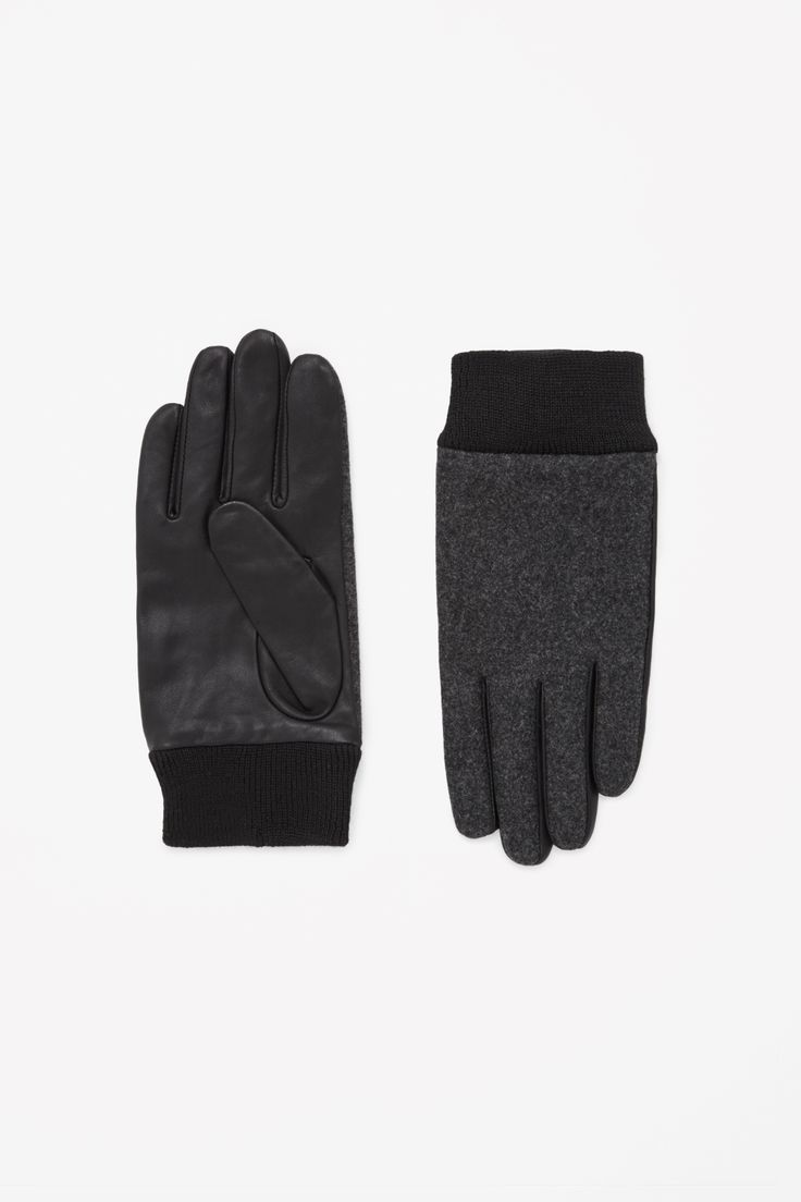 Made from lightly grained leather, these gloves have comfortable ribbed cuffs and a contrast wool melange front.