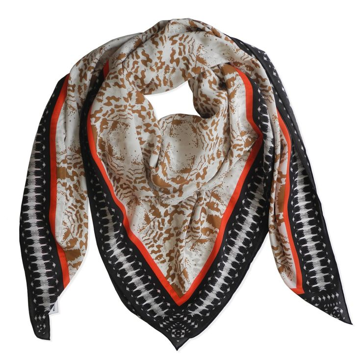 ABSTRACT TRIBAL SCARF - TAN & MANDARIN RED