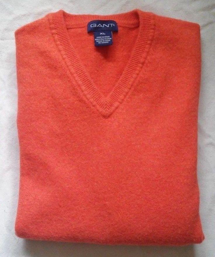 GANT Premium LambsWool Long Sleeve Orange V-Neck Jumper Sweater Size EU XL US M #Gant #VNeck