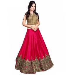 Buy Pink embroidered art silk unstitched lehenga ghagra-choli online