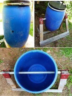 Ma poubelle est un Jardin: Faire un composteur rotatif avec un baril bleu de plastique