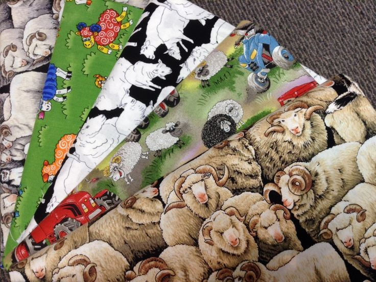 NZ themed 100% cotton quilting fabric. Sheep.
