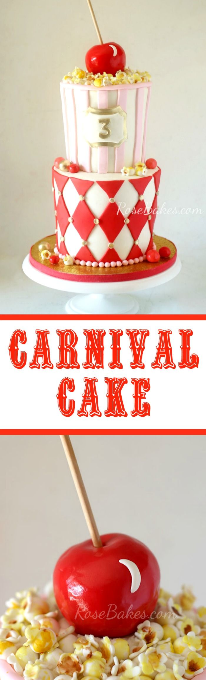 Carnival Cake by Rose Bakes with Fondant Popcorn and Candy Apple Topper