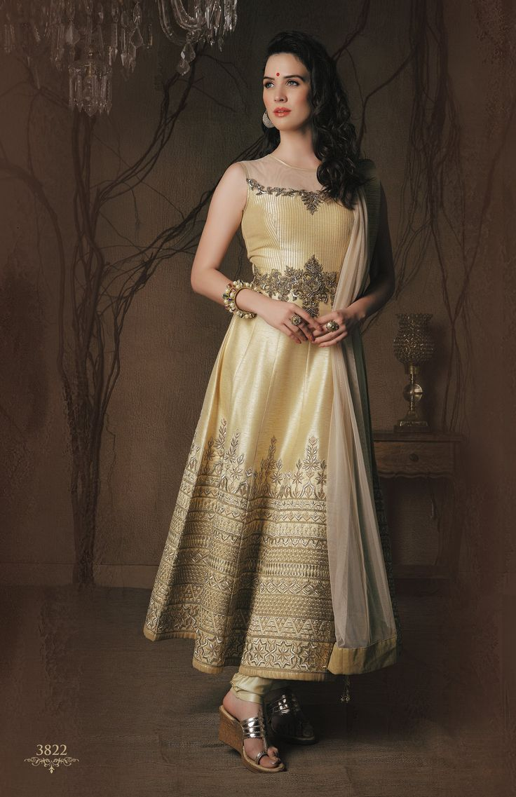 Captivating Gold Anarkali Gown