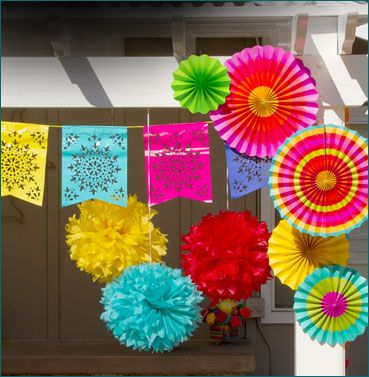 festive and colorful paper decorations for Cinco de Mayo party