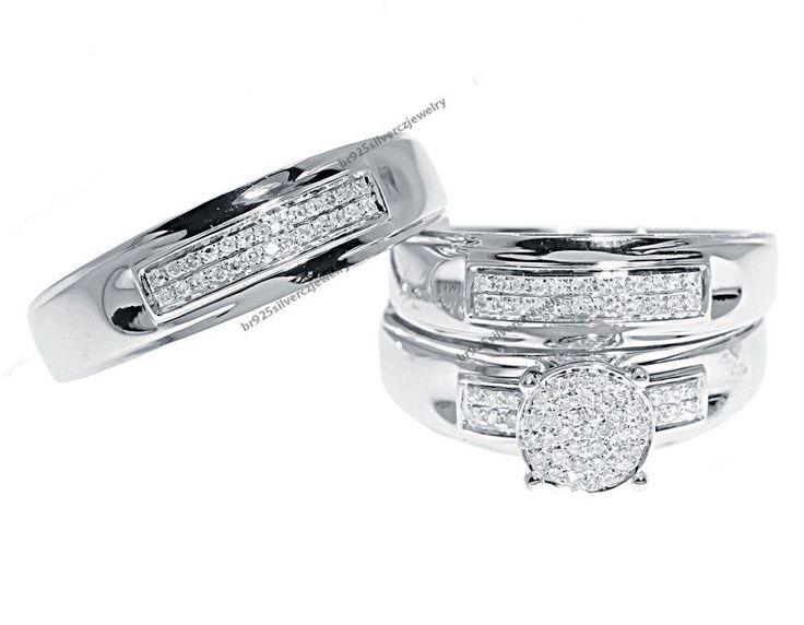 10K White Gold Men's Ladies Pave Set Diamond Trio Wedding Ring Set #br925silverczjewelry #WeddingEngagementAnniversaryBirthdayPartyGift