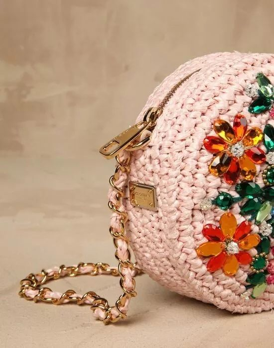 Bolsa Cluch Redonda Chic Noite Fio De Malha Crochê Bordada - R$ 99,00