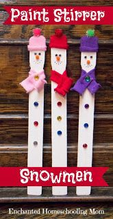 Cute paint stirrer snowmen