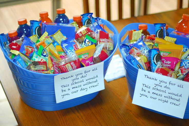 custodian or janitor appreciation gift. teacher gift Two tubs. one for night and day crew