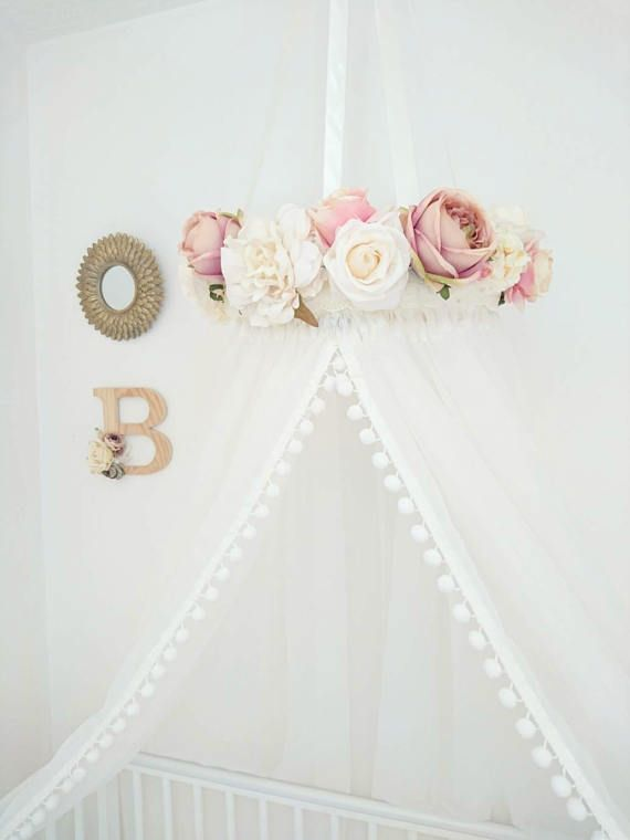 Princess Bed Canopy, Crib Canopy, Floral Canopy, Baby Shower Gift, Reading Nook, Shabby Chic, Wedding Decor, Floral Wedding, Nursery Decor