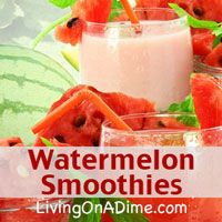 Even though watermelon is so yummy, there aren't too many different ways to eat it.They can be very large, so it's often difficult to eat a whole one before it goes bad and once in a while you have that one chunk or two left over. This easy watermelon smoothies recipe makes a delicious, refreshing smoothie that's perfect for a hot summer day and is great to use leftover watermelon!  Click here to get this easy #recipe http://www.livingonadime.com/watermelon-smoothies-recipe/