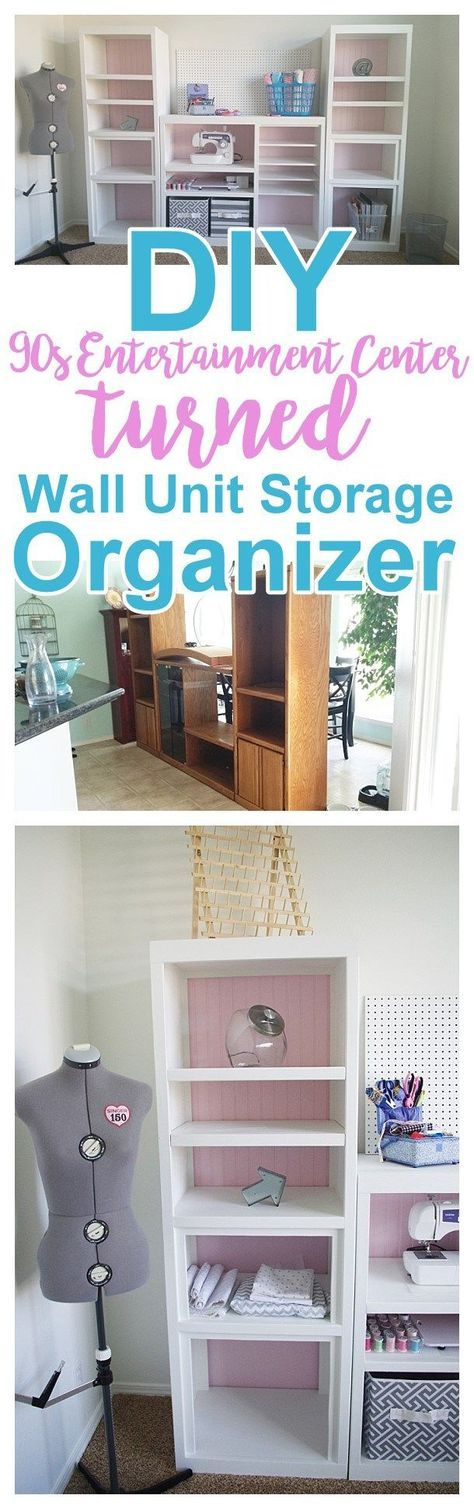 DIY 90s {Ugly} Oak Entertainment Center Turned {Pretty} Craft Storage Organizer Wall Unit Furniture Makeover Do it Yourself Project Tutorial