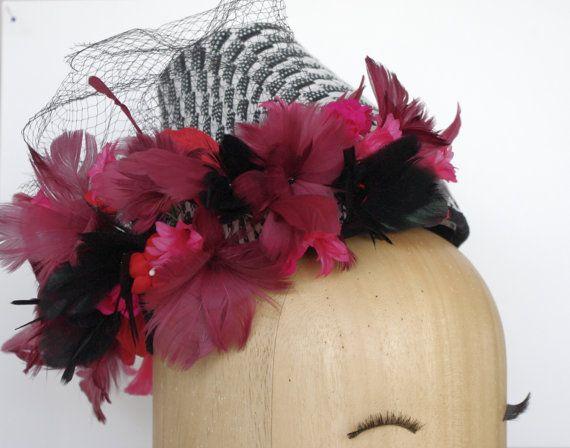Turban Hat / Wedding Hat / Black and White por PapillonsDeLeticia