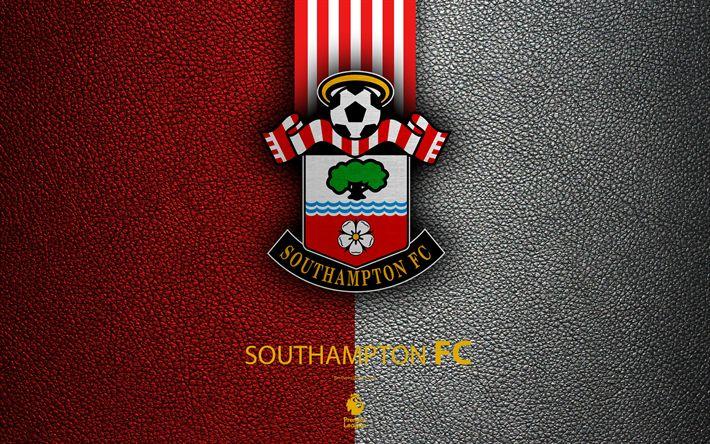 Download wallpapers Southampton FC, 4k, English football club, leather texture, Premier League, logo, emblem, Southampton, England, United Kingdom, football