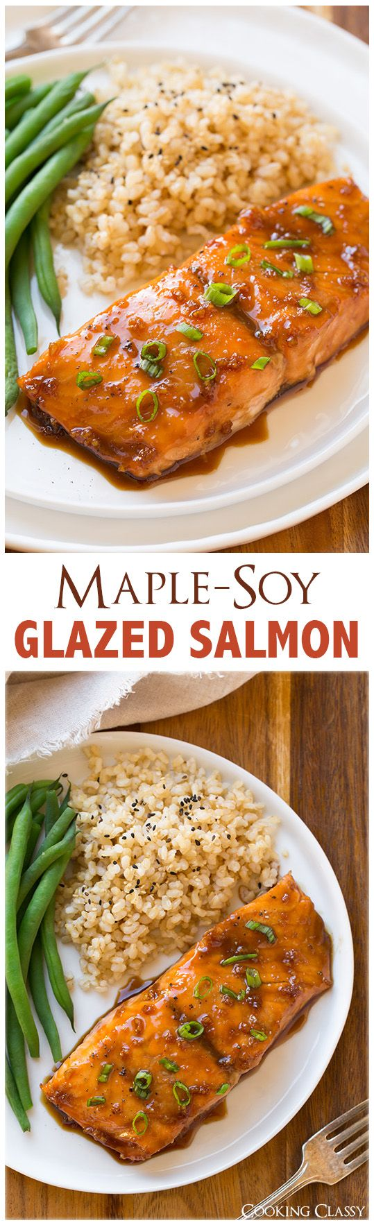 Maple-Soy Glazed Salmon - only FOUR ingredients and it tastes seriously DELICIOUS!!  | fish, seafood, dinner ideas, recipes