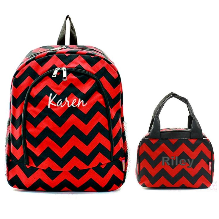 Matching Chevron Red Black Personalized Kids Backpack & Lunch Bag Set