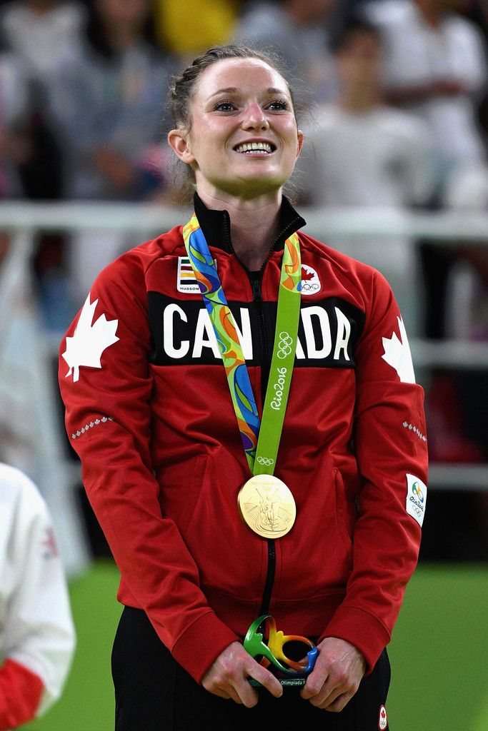 Gold medalist Rosannagh Maclennan of Canada reacts during the medal ceremony for…