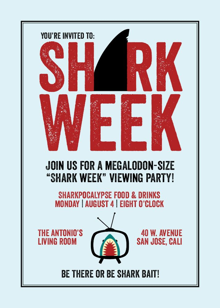 If you and your friends love shark week here's the perfect invite to set the tone for a Megalodon-size party! Gather your friends for the shows debut or throw a shark themed viewing party and watch all seven episodes of this popular show! I can customize the wording based on what kind of event you're having and the color scheme.