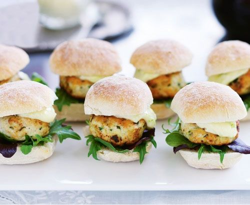 Easy Homemade Holiday Appetizers- Mini Ginger Chicken Burgers with Lime Mayo -  Click pic for 24 Christmas Finger Food Ideas