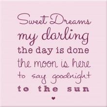 kinderkamer schilderij sweet dreams roze paars