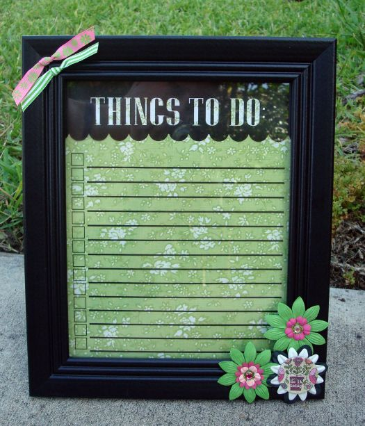 Frame up the list under glass and use dry erase pens. I love this idea!!