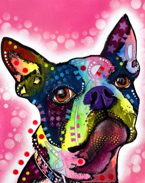 Art Boston Terrier cute-funny