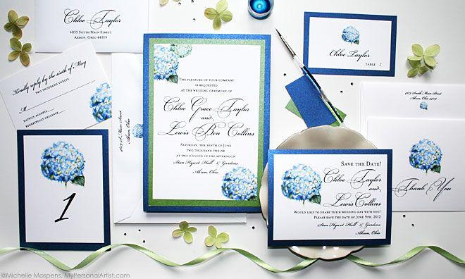 hydrangea watercolor wedding invitations