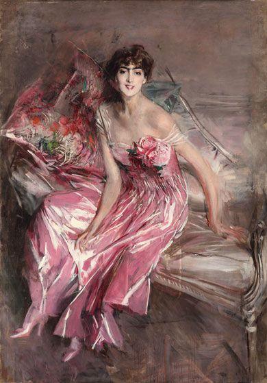 La signora in rosa (Ritratto di Olivia de Subercaseaux Concha) Olio su tela, cm 163 x 113 Museo Giovanni Boldini, inv. 1386