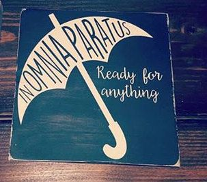 With the long awaited return to Stars Hollow, every Fast talking, coffee loving, Gilmore Girls super fan needs this adorable sign! Whether you are Team Logan, Team Dean or Team Jess...you can always live by the Life and Death Brigades Motto!!!!!!!  In Omnia Paratus! Ready for Anything! Painted in Black and White, this wood sign will go with any decor and relay your love of all things Gilmore!  Measuring 12 x 12  Silhouettes is committed to helping preserve our planet, this is why we use Old…