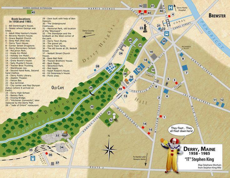 Derry Maine Map   Google  Stephen King  Pinterest
