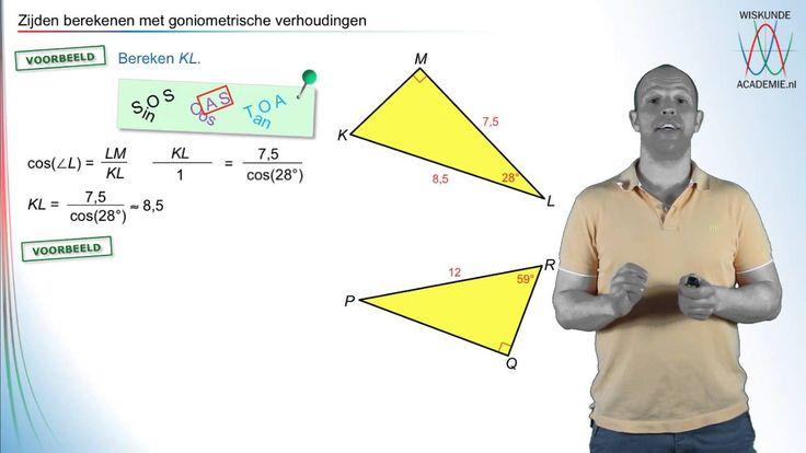 Filmpje waarin je stapsgewijs leert om zijden te berekenen (goniometrie- WiskundeAcademie). #wiskunde