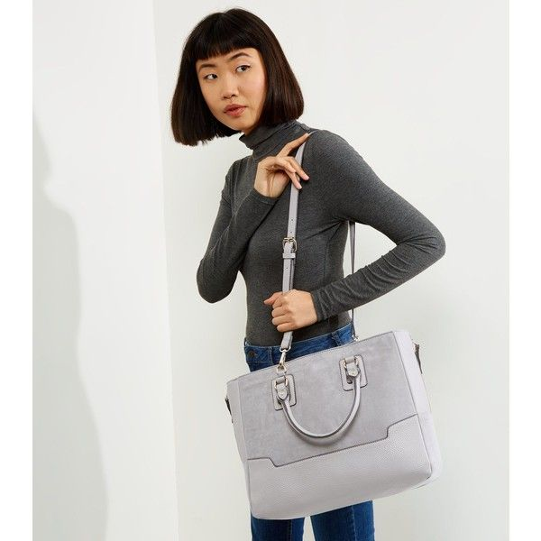 New Look Grey Suedette Panel Tote Bag (£30) ❤ liked on Polyvore featuring bags, handbags, tote bags, grey, faux leather tote bag, grey purse, zip tote bag, grey tote and vegan tote
