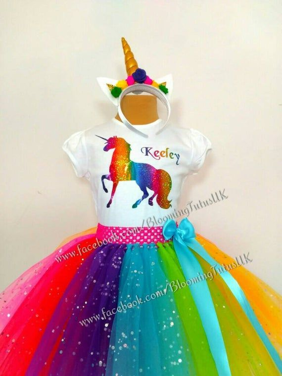 Girls Personalised T-Shirt Vest Top Birthday Outfit Cake Smash Rainbow Headband