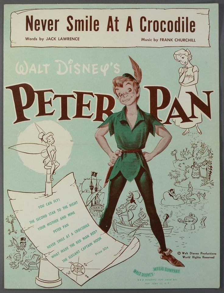 1952 WALT DISNEY'S PETER PAN Sheet Music NEVER SMILE AT A CROCODILE