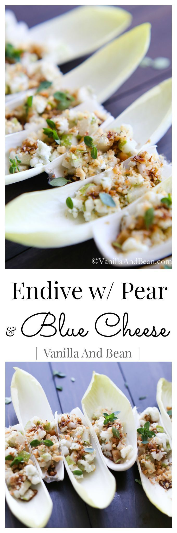 Endive with pear and blue cheese appetizer recipe - delicious and elegant!