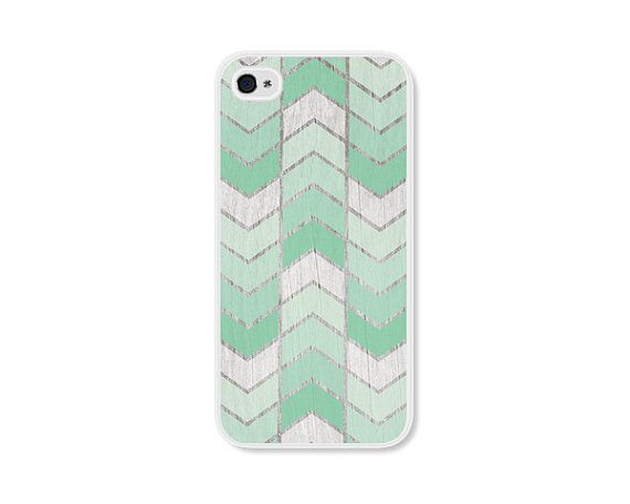 Mint Green Herringbone Chevron iPhone 5 Case - Wood iPhone 5s Case - Ombre iPhone 5 Cover - Cell Phone Case