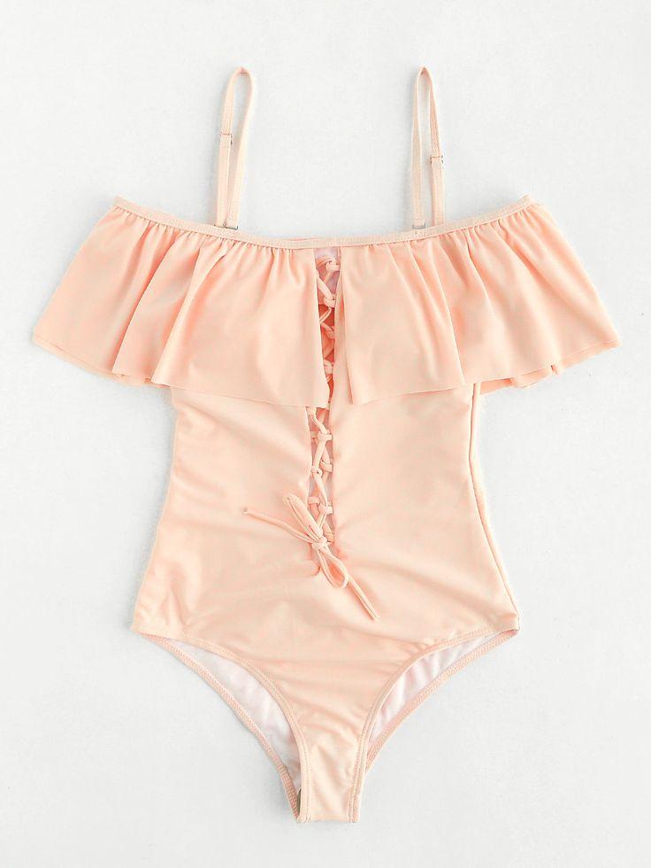 ¡Cómpralo ya!. Lace Up Design Cutout Back Flounce Swimsuit. Pink One Pieces & Monokinis Sexy Vacation Push Up Polyester YES Swimwear. , bañador, bañadores, swimsuit, monokini, maillot, onepiece, one-piece, bathingsuit, badeanzug, badeanzug, trajedebaño, maillotdebain, costumedabagno, bañador. Bañador  de mujer   de SheIn.