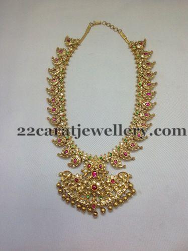 White Kundans Mango Haram   Jewellery Designs