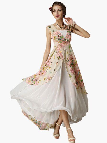 Favoloso Abito Donna Maxi Dress in Chiffon Bianco floreale, fiocco plissettato