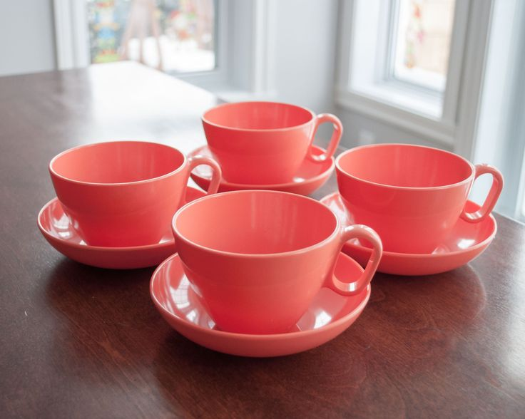 Ensemble de 4 tasses à café ou à thé et pot à lait et sucre, vintage, en mélamine de couleur orange, Dorchester et Rainboware de la boutique 3rvintages sur Etsy