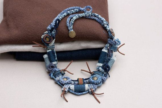 Recycled jeans necklace, eco-friendly textile jewelry, denim fiber necklace, OOAK