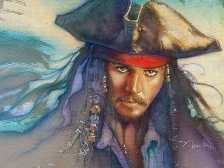 Captain Jack Sparrow -here be a fine, pirate portrait. Ahoy, I be sailin' with him any day! Pirates!