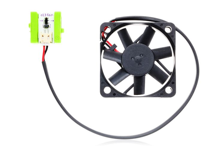 o13 - The littleBits fan module is just what you'd think: a small electric fan tethered to a littleBits module. It's great for those hot summer nights. Use our little fan to create fluttering movement in your creations or just to keep yourself cool.
