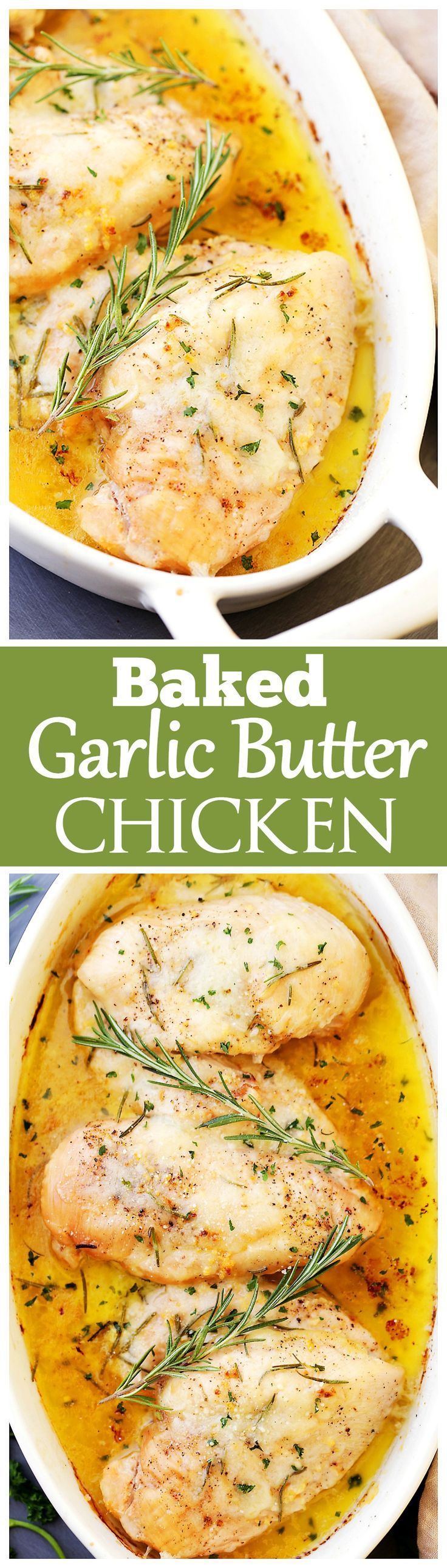 Baked Garlic Butter Chicken - Super quick, easy and SO delicious Garlic Butter Chicken with fresh rosemary and cheese. The perfect one pan dish for a weeknight!: