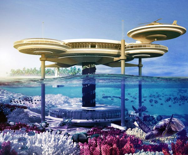 It's no surprise that this unbelievable futuristic hotel is being built in Dubai. The Water Discus Hotel designed by Deep Ocean Technology is made up of a series of sci-fi styled discs, and one of these discs will be positioned 21 stories underwater. This will provide guests with an extraordinary view directly into the Persian Gulf