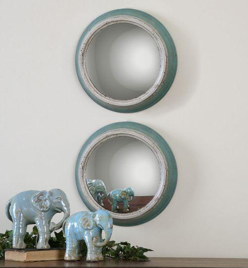 "15"" Antiqued Blue Round Convex Wall Mirror Set"