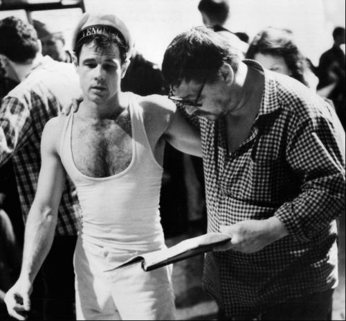 Brad Davis & Rainer Werner Fassbinder on the set of Querelle
