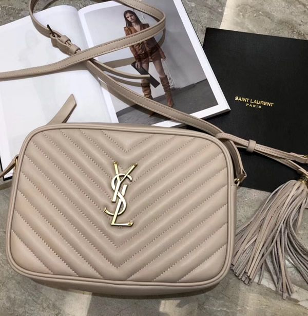 76f6f3f50e3f Saint Laurent Lou Camera Bag in Nude Pink Matelasse Leather Lambskin Leather
