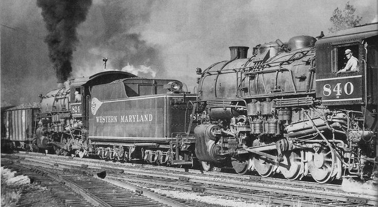 Double heading 2-8-0 Consolidation locomotives operating with the Western & Maryland Railroad