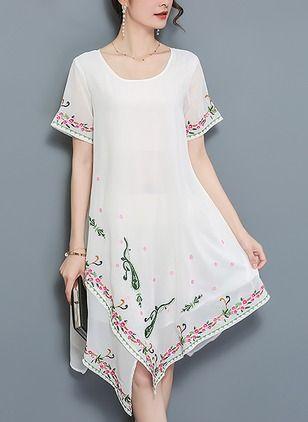 Vestidos Algodón Floral Sobre las rodillas Manga corta